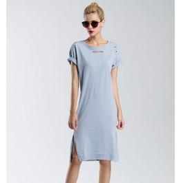 Fold Short Sleeves Slit Side Grey Dress