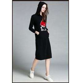 Lond Sleeves Side Pockets Long Hooded Black Dress