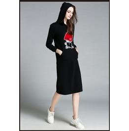 Lond Sleeves Side Pockets Long Hooded Black Dress