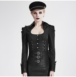 Punk Rave Women's Military Lace Up Single Breasted Slim Fitted Coat Y 685