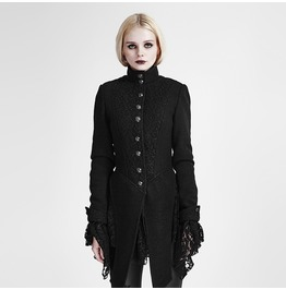 Women's Single Breasted Lace Stitching Sleeve Swallow Tail Woolen Coat Y 682