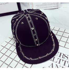 Hiphop Rivet Cap Black Hat A4