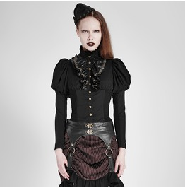 Punk Rave Women's Lolita Puff Sleeve Ruffles High Neck Tops Black Y 681