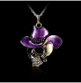 Cool Enamel Skull Head Pendant With Purple Cowboy Hat Design