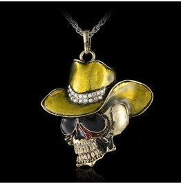 Awesome Enamel Skull Head Pendant With Yellow Olive Green Cowboy Hat