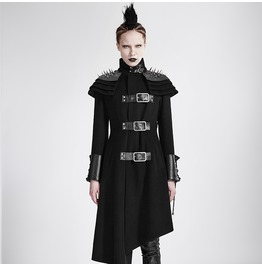 Women's Punk Rivets Stand Up Collar Asymmetrical Military Overcoat Y 679