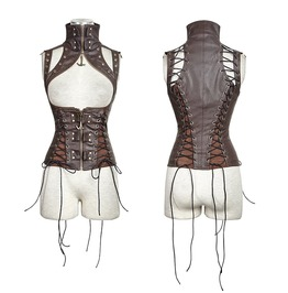 Steampunk Domineering High Collar Rivets Lace Up Waistcoat Coffee Y 674