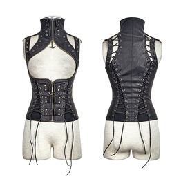 Steampunk Domineering High Collar Rivets Lace Up Corsets Black Y 674