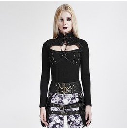 Punk Rave Women's Steampunk High Neck Hollow Out Long Sleeved Tops T 437