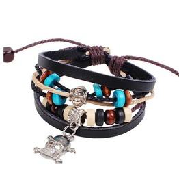Cool Leather And Bead Handcrafted Skull And Cross Bones Bracelet