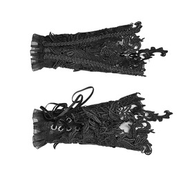 Women's Gothic Floral Crochet Lace Gloves Black S 177