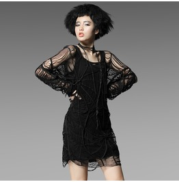 Punk Rave Women's Punk Spider Web Hollow Out Knit Dress T 322