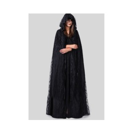 New Women Summer Long Section Of Lace Shawl Dark Cloak Cape Coat