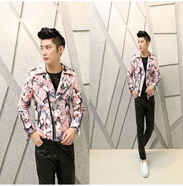 Men Fashion Leather Jacket Men Printing Faux Pu Leather Slim Jacket
