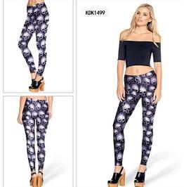 Punk Fashion Mini Skull Print Fashion Women Leggings Pants