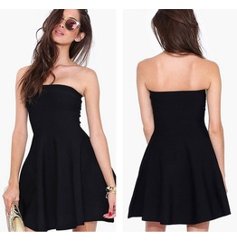 2016 Fashion Women Black Slim Strapless Dresses