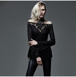 Punk Rave Women's Gothic Off The Shoulder Floral Crochet Lace Tops T 401