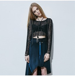 Punk Rave Women's Long Sleeve Midriff Baring Mesh Knitting Shirt T 411