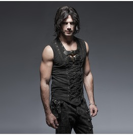 Punk Rave Men's Retro Lace Up Tank Top With Buckles Black T421