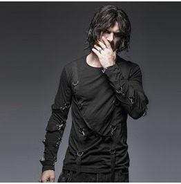 Punk Rave Men's Retro Cross Straps Long Sleeved Shirt T 426