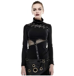 Women's Steampunk High Collar Hollow Out Waist Long Sleeve Tops T 432