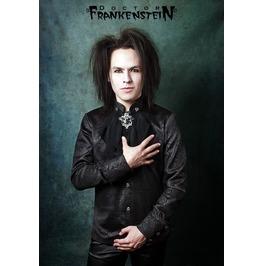 Dr. Frankenstein Black Brocade Silk Ruffled Shirt