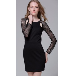 Sexy Backless Long Lace Sleeves Slim Fit Black Dress