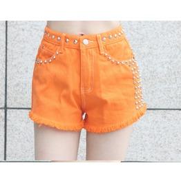 Rock Heavy Metal Rivets Orange Denim Shorts Pants Tide