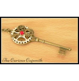Red Steampunk Key Necklace
