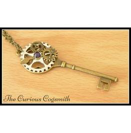 Purple Steampunk Key Necklace