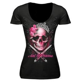 Women,S Black New Scoop Neck T Shirt Skull