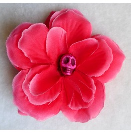 Calavera Skull & Raspberry Pink Rose Hair Clip Gothic, Day Of The Dead
