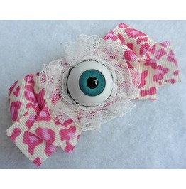Leopard Eye Hair Pin Pink, Kawaii, Gothic, Macabre, Eyeball, Anatomy