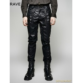 Black Pu Leather Gothic Punk Men's Pants