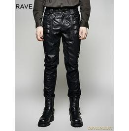 Black Pu Leather Gothic Punk Men's Pants