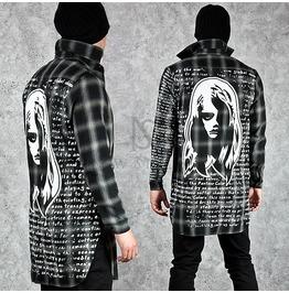 Stylish Printing Back Accent Unbalance Long Checkered Shirts 139