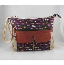 Candy And Skulls Sydney Cross Body Messenger With Cork Accents