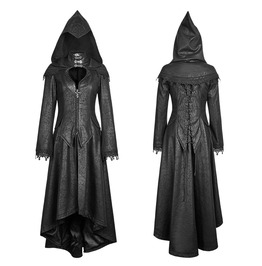 Gothic Goth Steampunk Vampire Witch Cosplay Black Hooded Cape Dress Coat