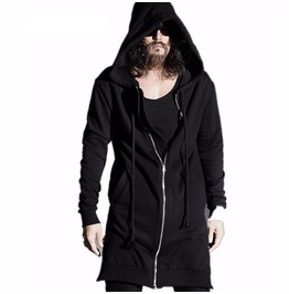 Mens Zip Up Black Long Hoodie