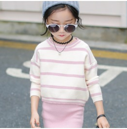 Fashion New Autumn And Winter Coat Tide Autumn Striped Sweater Girls