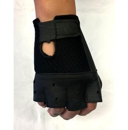 Gamuzzi Fingerless Biker Leather Gloves W/Velcro Closure