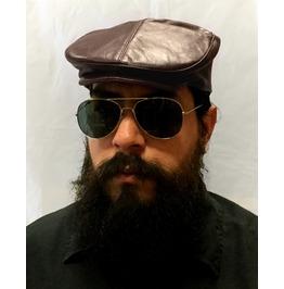 Brown 100% Leather Mens Ivy Cap