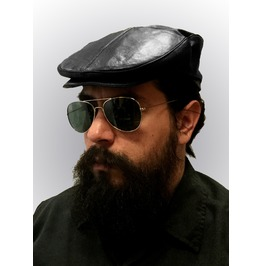 Black 100%Leather Mens Ivy Cap