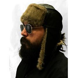 Gamuzzi Black Leather Aviator Hat W/Fur