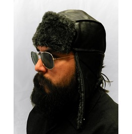 Gamuzzi Black Fur Leather Aviator Hat