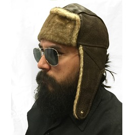 Brown Suede Leather Aviator Steampunk Hat