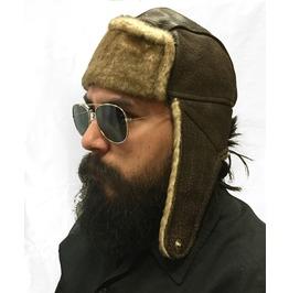 Gamuzzi Brown Fur Leather Aviator Hat