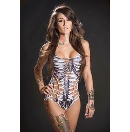 Skeleton Cut Out Swimsuit