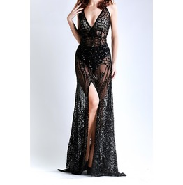 Sequin And Mesh Gold Or Black Gown