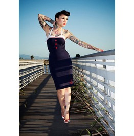 Mysterycat Vintage 50s Navy Blue Women Dress Retro Rockabilly Size M L Xl